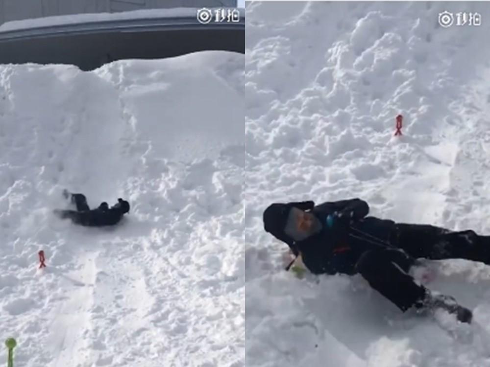 ▲▼鄧超曬滑雪影片。(圖/翻攝自鄧超微博)
