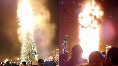 俄羅斯超狂跨年「來燒聖誕樹吧」 10樓高火柱沖天...民眾痛飲跳舞