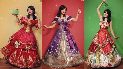 正妹蒐集聖誕節「垃圾」,巧手製成公主風「大蝴蝶結紙蓬裙」
