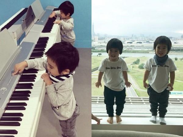 ▲雙胞胎哥哥Jenson較常圍著領巾。(圖/翻攝自陳若儀IG)
