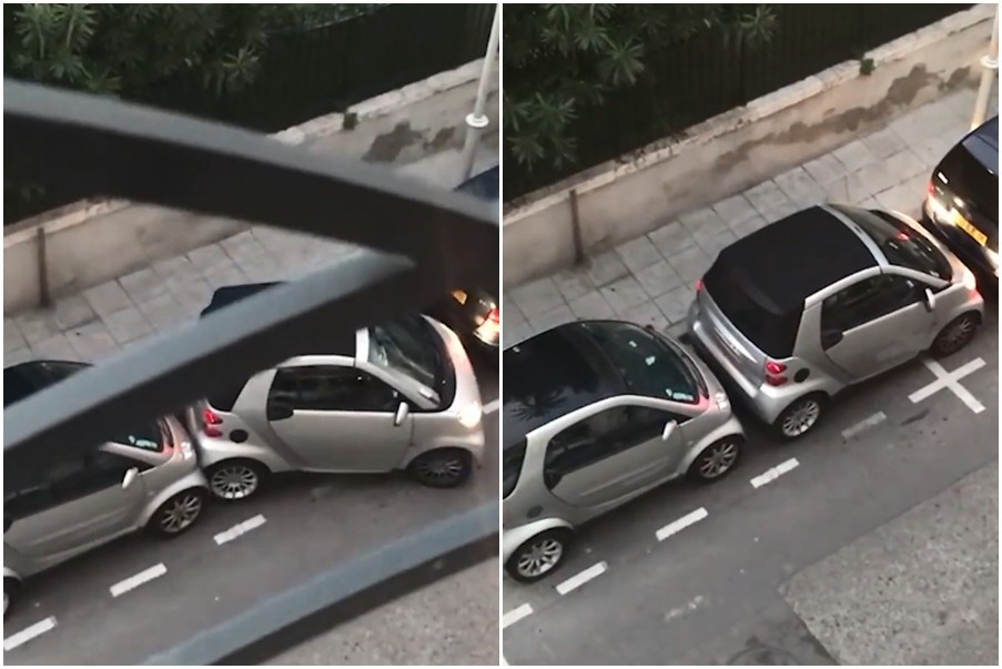 ▲一名駕駛竟然擠得下狹小的停車空間。(圖/翻攝自「UNILAD」臉書)