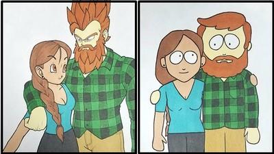 巧手男親繪戀曲!把女友放進10部卡通,她感動到「石化半小時」