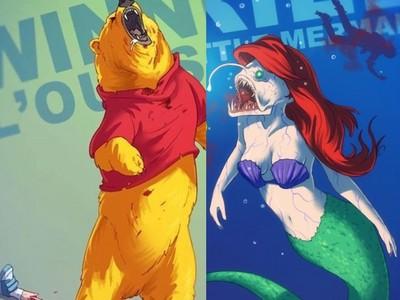 童年崩壞!艾莉兒變噁心深海魚,小熊維尼一口吞下小主人