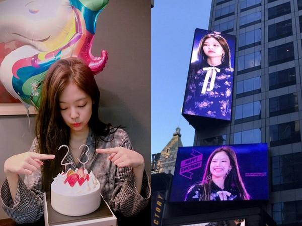 ▲粉絲為BLACKPINK Jennie在紐約時代廣場包下慶生看板。(圖/翻攝自BLACKPINK IG、韓網)