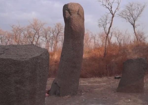 ▲▼山東省濰坊市有根像男性生殖器的石頭。(圖/翻攝自梨視頻)