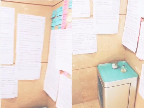 ▲李冰冰廁所牆上滿滿都是英文筆記。(圖/翻攝李冰冰微博)