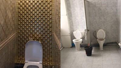 大學高層奢華廁所「鑲金邊大理石」 學生蹲大便...連門都沒有