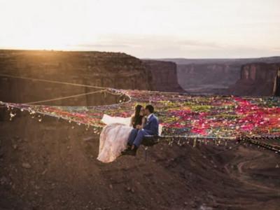 峽谷半空織出夢幻安全網 小夫妻懸120公尺高互許誓言