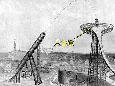 把人射進滑水道!1919年「電子巨砲」設計圖,遊樂設施終究做不出