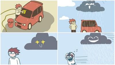 沒帶傘、洗完車必下雨!雨男用插圖訴說「被烏雲惡整」心酸史