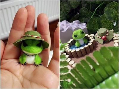 等到花兒都謝了!想念不回家的蛙兒...戳戳羊毛氈解相思QAQ
