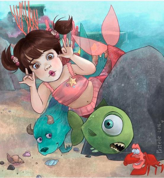 ▲▼當迪士尼公主全都走進海裡 等等艾莎也去不會結冰嗎(圖/翻攝自Instagram)