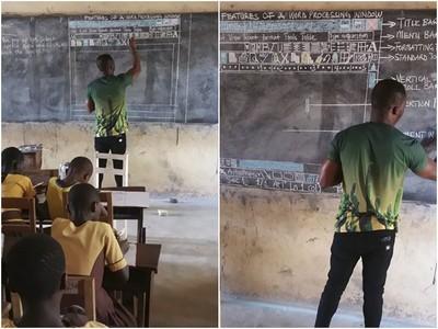 沒電腦怎上資訊課?非洲老師炫技「手繪螢幕」教學生用Word
