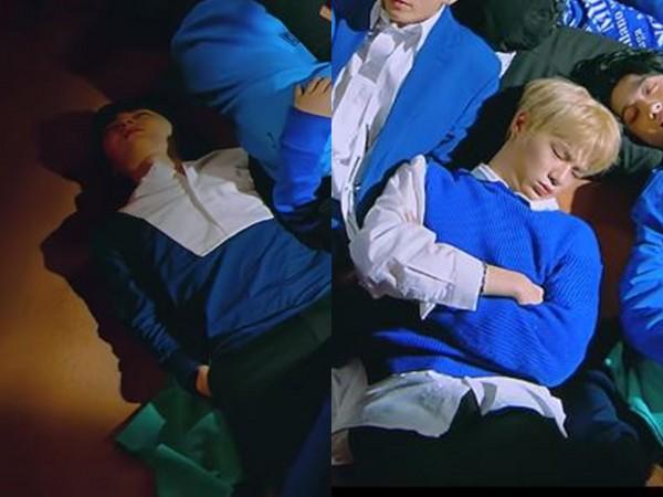 ▲1秒畫面粉絲鷹眼!抓包Wanna One新歌MV成員真的睡著啦(圖/翻攝自YouTube CJENMMUSIC Official)