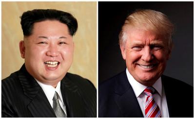 北韓國務委員會委員長金正恩(左)和美國總統唐納·川普(右)