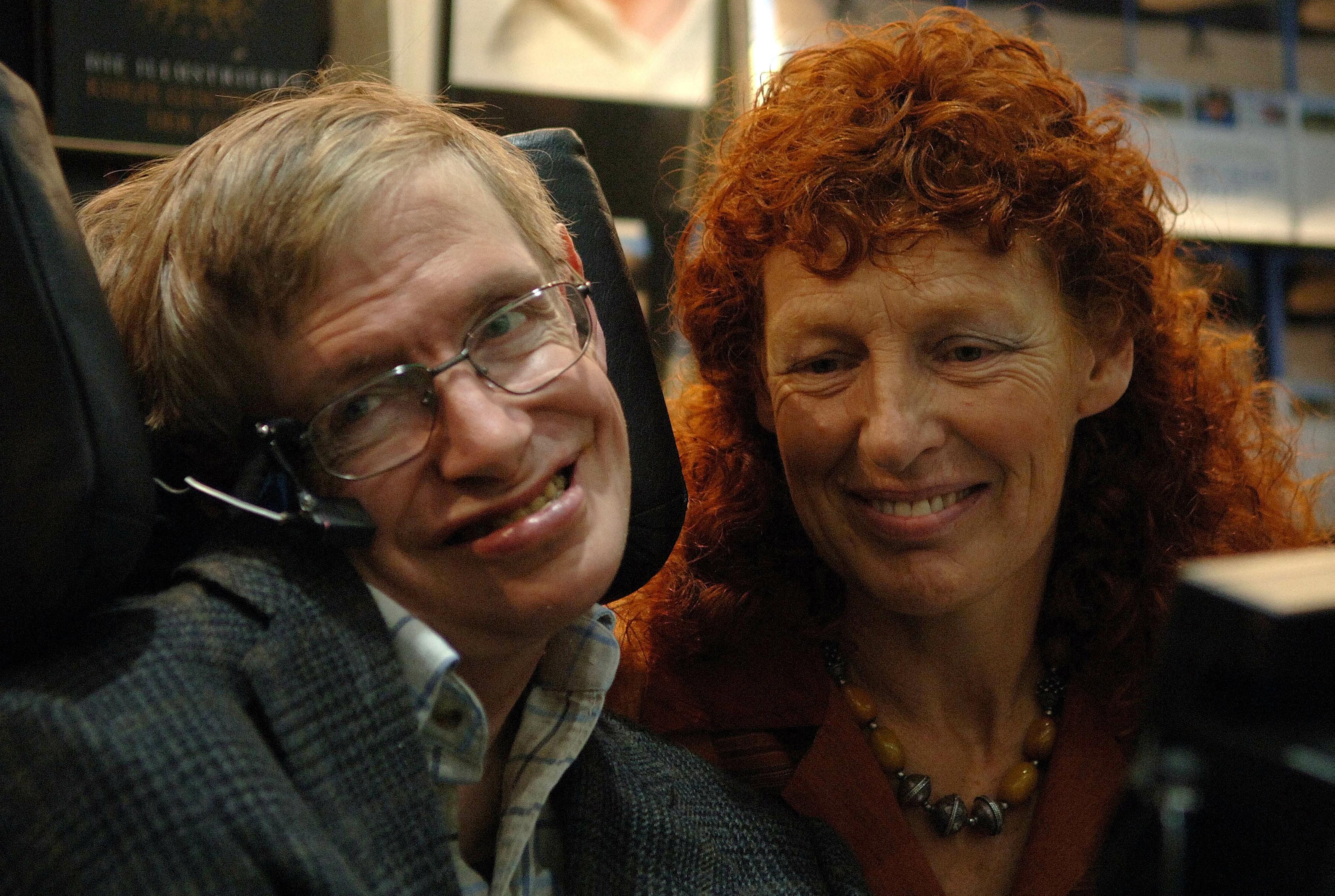 ▲▼史蒂芬·霍金(Stephen William Hawking),第二任妻子伊蓮·梅森(Elaine Mason)。(圖/路透社)