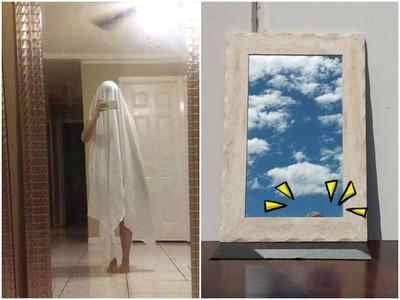 怎麼躲都沒用.. 網友「賣鏡子」拍照想出奇葩招:扮成鬼!