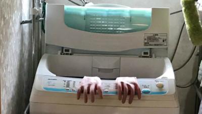 白天見鬼!洗衣機裡「攀出一雙詭異人手」 走近才知被老媽耍了