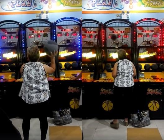 ▲▼ 菲律賓櫻木花「嬤」玩投籃機「1分鐘進百球」電爆網友。(圖/翻攝自Facebook/Janine Febrada)