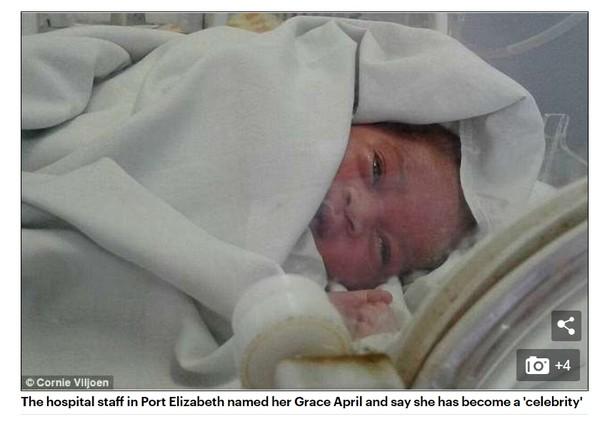 ▲▼南非一名剛出生就被拋棄的女嬰,奇蹟活下來。(圖/翻攝自Daily Mail)