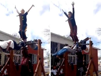 墨西哥Style!小孩賭命「無敵風火輪」360度狂轉,沒在怕摔死的