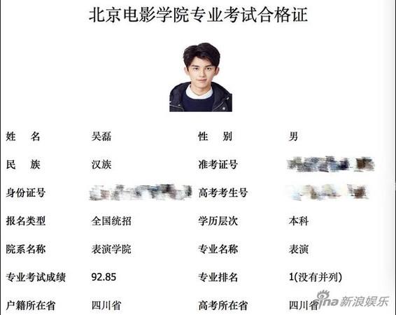 ▲▼吳磊報考北電,表演專業分數全國第一。(圖/翻攝自微博、《新浪娛樂》)