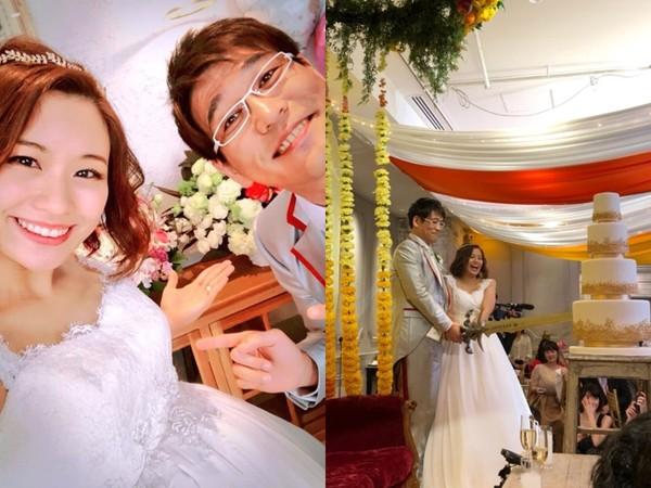 ▲▼PIKO太郎補辦婚宴,愛妻挺8月大肚現身。(圖/翻攝自PIKO太郎部落格)