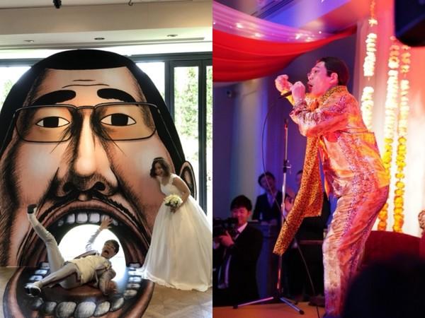 ▲PIKO太郎門口放漫畫肖像拍照,還穿豹紋裝上台演唱。(圖/翻攝自PIKO太郎部落格)