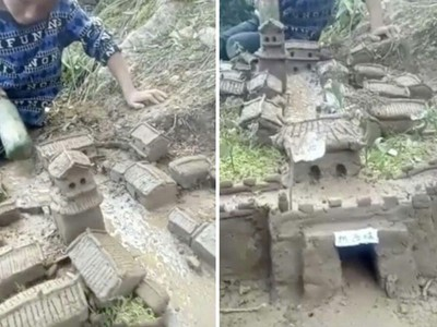 8歲男童玩泥巴成癮 父母跟蹤發現造出一座城 網驚:有神快拜!