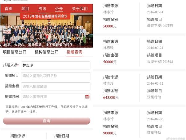 ▲林志玲多年來低調捐款的明細,最近被網友翻出,其中一筆多達5000萬台幣。(圖/取自「學生飯提督」微博)