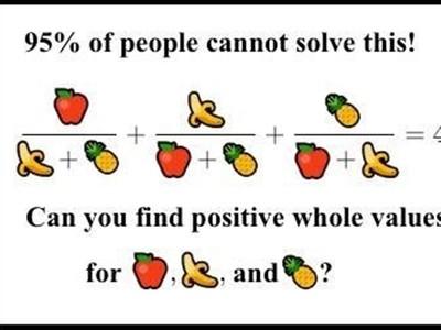 不是老梗了!「水果數學題」99%人解不出...這次是真的