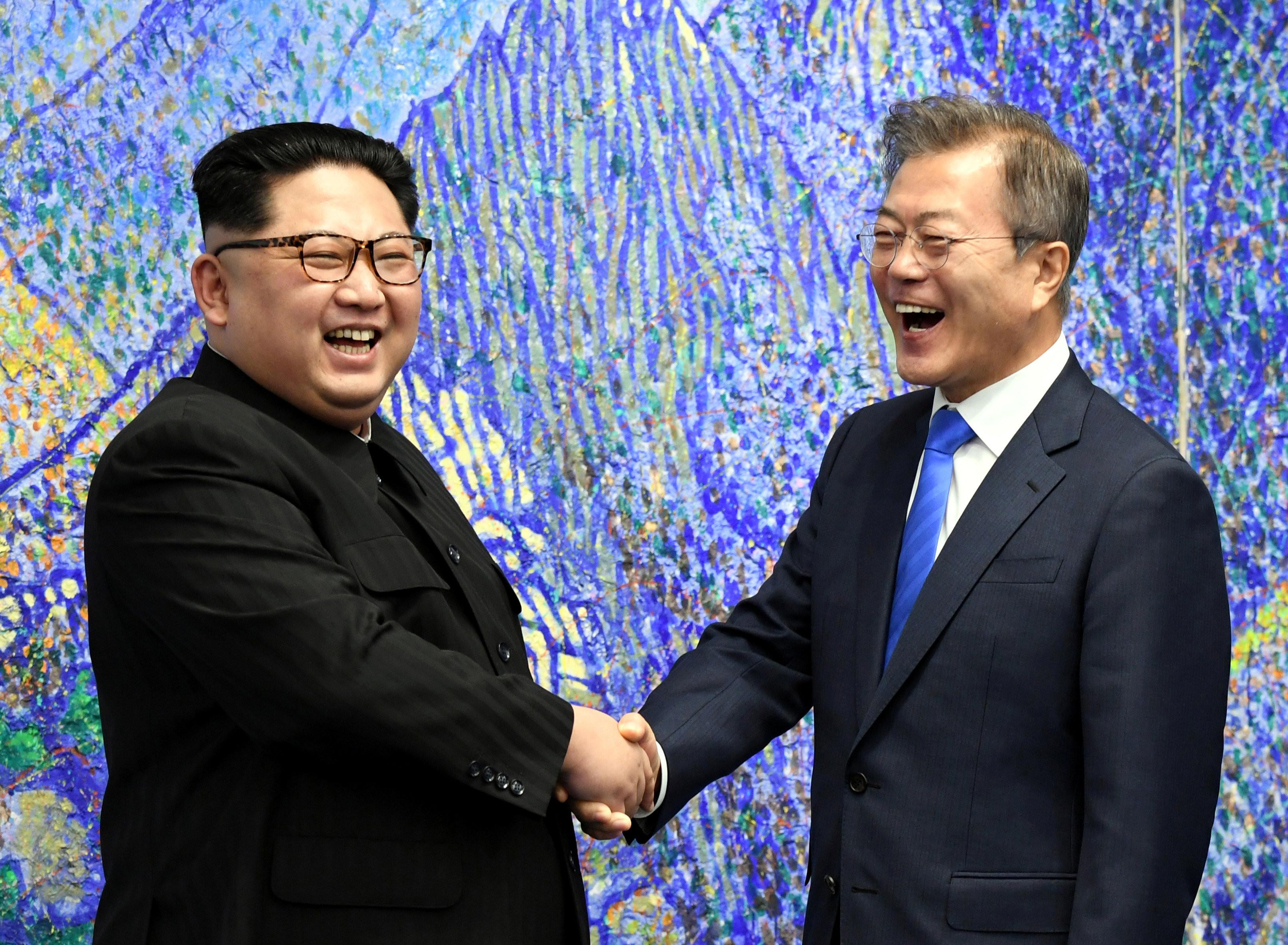 ▲文金會/北韓領導人金正恩與南韓總統文在寅會晤。(圖/路透社)