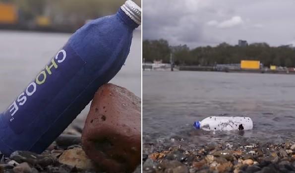 ▲英男研發出「防水紙瓶」,稱三星期內可分解。(圖/取自YouTube/Daily Mail)