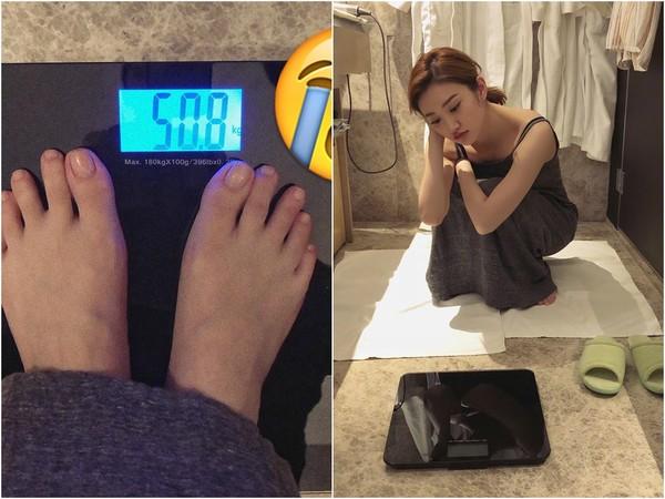 ▲景甜自招變胖,體重「破百」,讓她非常苦惱。(圖/取自景甜微博)