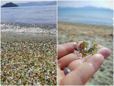 臭味退散!繽紛玻璃堆積成「寶石海灘」 腳用力踩上去麥驚啦