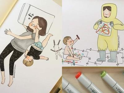 「成為母親後的日子」畫家手繪感人育兒生活 看著看著就想媽媽了