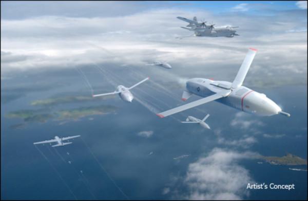 ▲畫家筆下「空中航母」(右上角)釋放出小型無人機的畫面。(圖/翻攝自DARPA網k站)