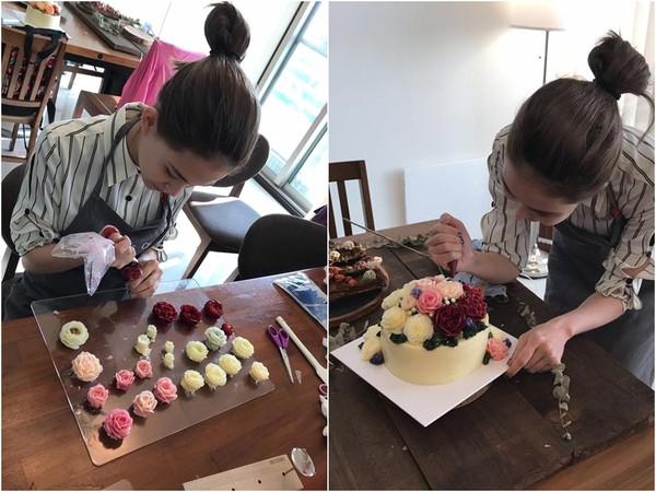 ▲昆凌手做玫瑰花蛋糕,一端上桌,幾可亂真的奶油花,宛如新鮮花朵,讓網友看傻了眼。(圖/取自昆凌臉書)
