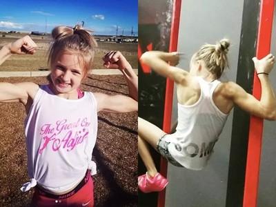 還沒斷奶就會跑酷!10歲「筋肉妹」單臂引體向上破百次