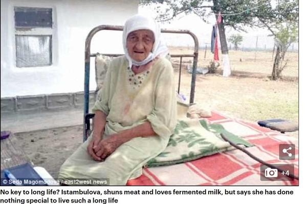 ▲▼俄羅斯車臣共和國的128歲人瑞阿嬤,她認為活著是神給的懲罰。(圖/翻攝自每日郵報)