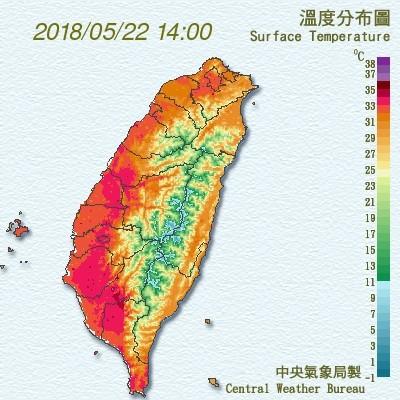 ▲▼白蟻沖天!鋒面大雨快閃1天…「飆溫36度↑」台北周末熱到哭。(圖/中央氣象局)