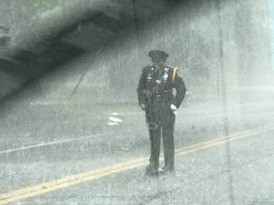 女警淋雨「守候烏龜慢爬」!路人不捨遞傘:她全身濕透面露微笑