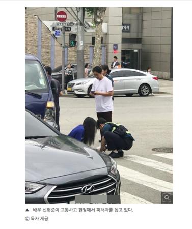 ▲申鉉濬目擊女子遭卡車撞。(圖/翻攝自ohmynews)