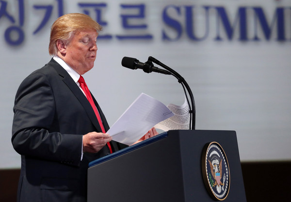 ▲▼川金會/美國總統川普發表記者會,內容包括北韓的人權問題。(圖/路透社)