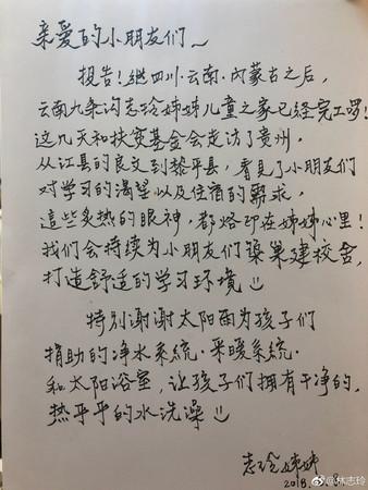 ▲林志玲熱心公益。(圖/翻攝林志玲微博)