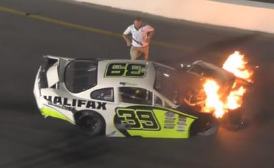 賽車起火 勇爸「車窗拉兒」搶救