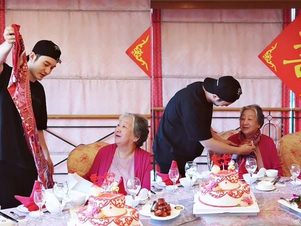 ▲▼黃曉明姥姥90大壽,全家親戚大集合老婆Baby缺席了。(圖/翻攝自微博)