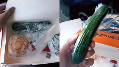 影/傻眼飛機餐附「整條包膜小黃瓜」 乘客:想吃得優雅太難!
