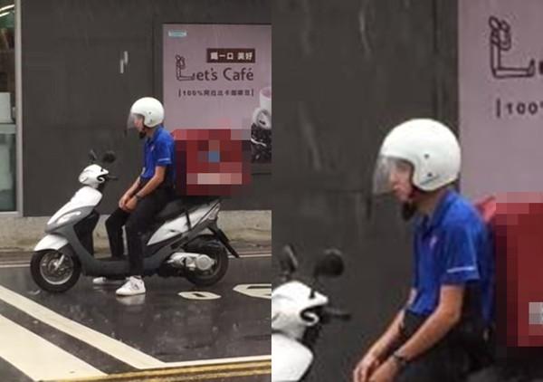 ▲▼颱風淋雨送餐…外送員一臉厭世 網友拍拍:辛苦了!。(圖/翻攝自爆料公社)