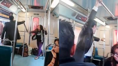 捷運車廂內「驅魔儀式」超認真 西裝男喝斥中邪婦...通勤族看呆